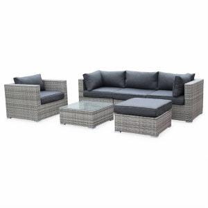 Salon de jardin table en résine tressée nuances de gris 5 places Caligari canapé fauteuil ALICE S GARDEN