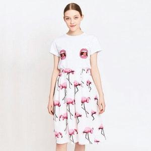 Saia com estampado flamingo rosa MIGLE+ME