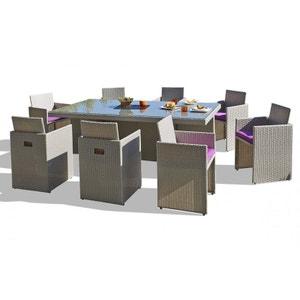 Salon de jardin avec 8 fauteuils encastrables gris sidéral LE REVE CHEZ VOUS
