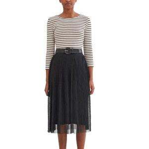Kurzärmeliges Kleid, gestreiftes Oberteil, Faltenrock ESPRIT