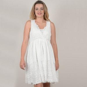 Kurzärmeliges Kleid in A-Linie, unifarben GABRIELLE BY MOLLY BRACKEN