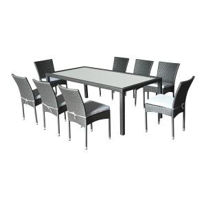 Salon de jardin Doha en résine tressée 8 chaises + coussins gris CEMONJARDIN