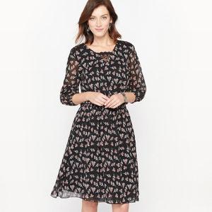 DrapedCrêpe and Lace Print Dress ANNE WEYBURN