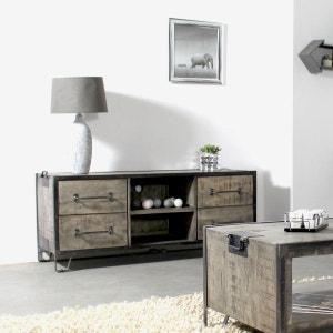 meuble tv industriel bois et mtal 4 tiroirs 2 niches if665 made in - Meuble Tv Living