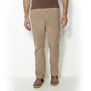 Elasticated Trousers in Pure Cotton Canvas, Inside Leg 83 cm CASTALUNA FOR MEN