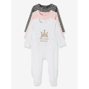 Lot de 3 pyjamas bébé coton dos pressionné VERTBAUDET
