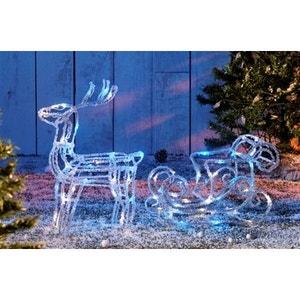 Superbe décoration de Noël 64 LED Bi-colore Bleu/Blanc effet givré - Traineau avec renne en acrylique lumineux ! NONAME