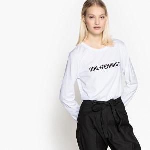 Tee-shirt manches longues, imprimé féministe La Redoute Collections