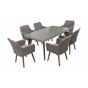 Plateau pour table ext rieur la redoute - La redoute table de jardin en resine tressee ...