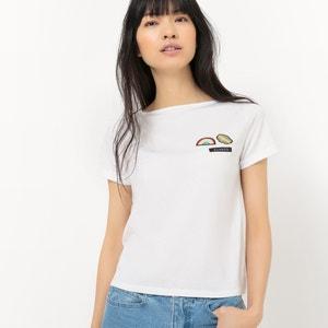 T-shirt curta, decote à barco, com emblemas R édition