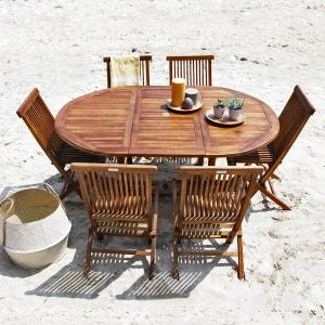 Salon de jardin teck en bois de teck huilé 6/8 pers Table larg 120cm + 6 chaises BOIS DESSUS BOIS DESSOUS