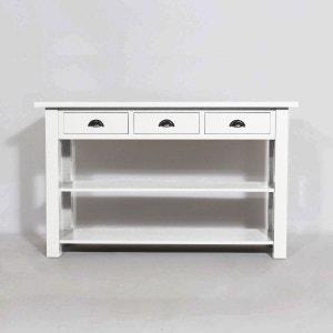 Console bois massif, 2 étagères 3 tiroirs     N09 MADE IN MEUBLES