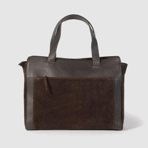 Sac bi-matière cuir et croûte de cuir La Redoute Collections