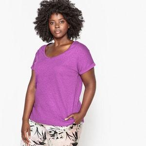 T-Shirt aus Baumwolle und Leinen mit V-Ausschnitt CASTALUNA