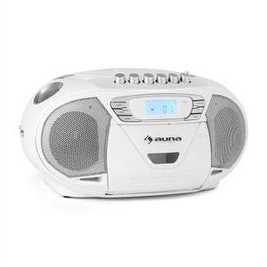 KrissKross Lecteur CD-K7 portable USB MP3 CD -blanc AUNA