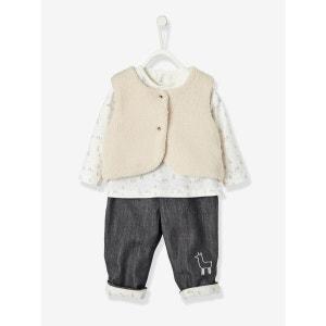 Ensemble bébé T-shirt - body imprimé + gilet fourrure + pantalon doublé VERTBAUDET