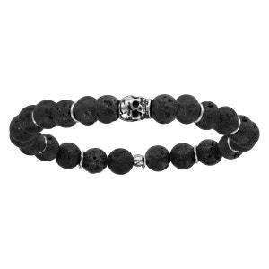 Bracelet Elastique Perles Noires Pierre de Lave Noire Tête de Mort Argent 925 SO CHIC BIJOUX