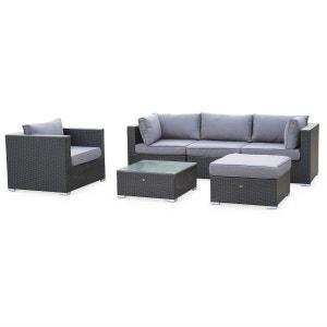 Salon de jardin table en résine tressée Noir 5 places Caligari canapé fauteuil ALICE S GARDEN