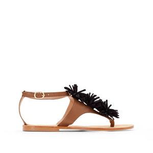 Sandales cuir détail pompons atelier R