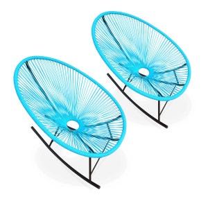 Ensemble de 2 fauteuils à bascule Acapulco chaise oeuf design rétro rocking Turquoise ALICE S GARDEN