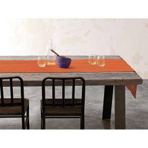 Vis-à-vis orange - lin déperlant - bicolore, brodé BLANC CERISE