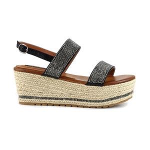 Sandalen met sleehak HM918 CAFENOIR