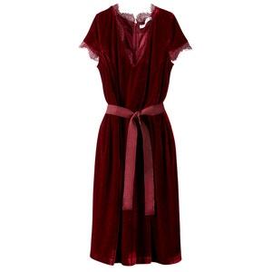 Платье из велюра с кружевом MADEMOISELLE R