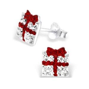 Boucles d'oreilles Enfant Paquet Cadeau Cristal Rouge & Blanc Argent 925 SO CHIC BIJOUX