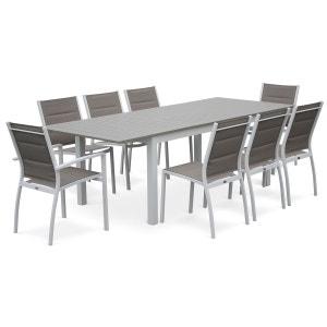 Salon de jardin 8 places table à rallonge extensible 175/245cm alu blanc textilè ALICE S GARDEN
