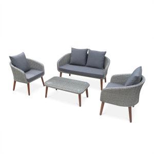 Salon de jardin Grenada en bois et résine tressée arrondie, coussins gris clair, 4 places assises, design scandinave ALICE S GARDEN