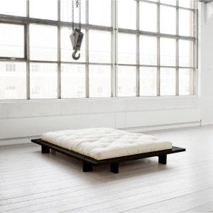 Pack futon coton écru   structure japan bois noir - Terre de Nuit TERRE DE NUIT