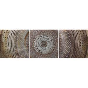 Tableau ABSTRAIT Tryptique Rosace tons beiges, marrons et dorés et éléments métal 50x150cm PIER IMPORT