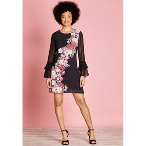 Rechte jurk met bloemenprint, 3/4 midi lengte YUMI