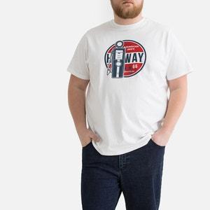 Bedrukt T-shirt met ronde hals, grote maten