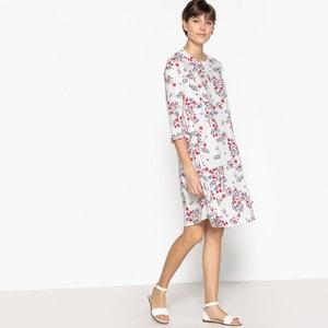 Vestido de gola redonda, estampado floral, mangas 3/4 BENETTON