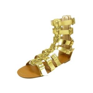 Sandales spartiates hautes pour femme aspect cuir et diamants cz CHAUSSMARO