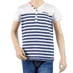 T-Shirt Japan Rags Enfant Garçon Calvin Blanc / Bleu JAPAN RAGS