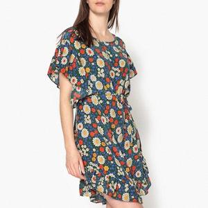 Bedrukte jurk in zijde met korte mouwen MARLENE TOUPY