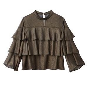 Effen blouse met maokraag en lange mouwen MADEMOISELLE R