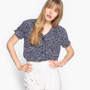 Bedrukte blouse met V-hals in zuiver katoen La Redoute Collections