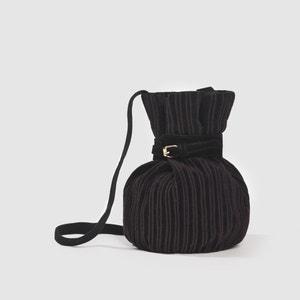 Black Corduroy Bucket Bag INES OLYMPE MERCADAL X LA REDOUTE MADAME