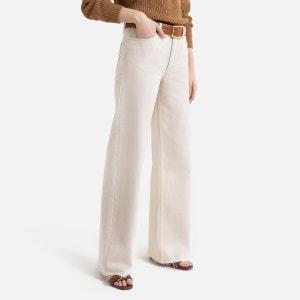 Wijde jeans met hoge taille, uitgerafelde onderkant