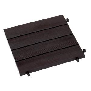 Dalles de jardin clipsables aspect bois foncé - 38.4 x 38.4 x 2 cm - Lot de 11 HABITAT ET JARDIN