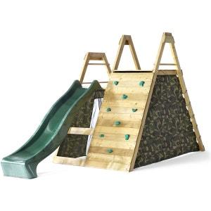Plateforme de jeux en bois avec mur d'escalade PLUM