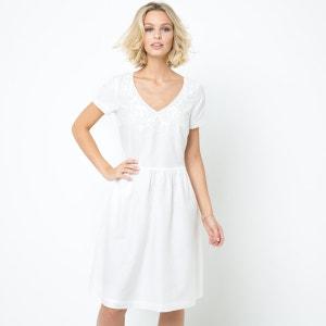 Vestido bordado fluido em algodão/seda LAURA CLEMENT