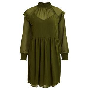 Plain Short Straight Dress with Long Sleeves VILA