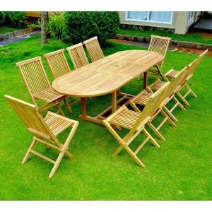 Kajang: Salon de jardin Teck massif 10/12 pers - Table ovale + 10 chaises CONCEPT USINE