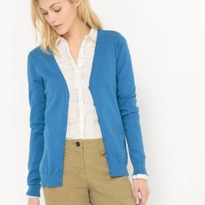 Sweter rozpinany z długimi rękawami, bawełna La Redoute Collections