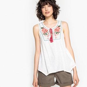 Blusa sin mangas con cuello redondo y plastrón bordado BENETTON