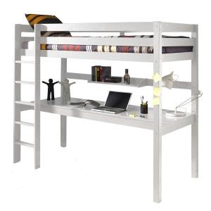 Lit mezzanine 90x200 avec bureau pin Armance & Faustin blanc ALFRED ET COMPAGNIE